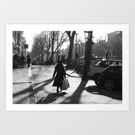 Monochrome street view Art Print