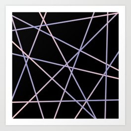 Lines 92 - in pink, purple on black Art Print
