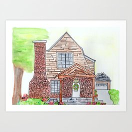 Krissinger House, 1920s, brick, watercolor Art Print