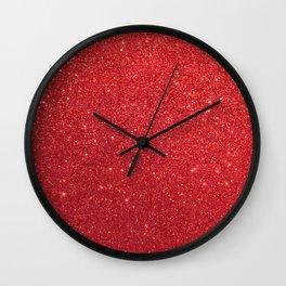 Ruby Red July Leo Birthstone Shimmering Glitter Wall Clock