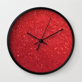 Ruby Red July Leo Birthstone Shimmering Glitter Wall Clock