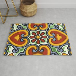 Talavera Mexican tile inspired bold design in green, gold, red and blue Rug