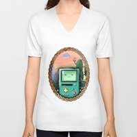 bmo V-neck T-shirts featuring BMO!! by SempiternalILLUSTRATIONS