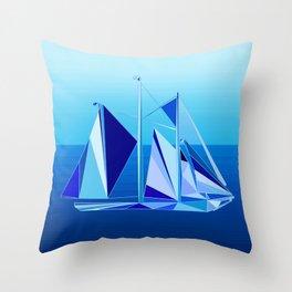 Modern Geometric Sailboat / Yacht, Cobalt Blue Throw Pillow
