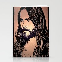 jared leto Stationery Cards featuring Vector Jared Leto by Emma Porter