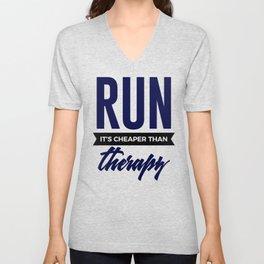 Run It's Cheaper Than Therapy Unisex V-Neck