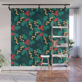 Happy Holly Berry Christmas green decor Wall Mural