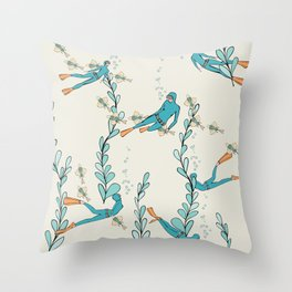 Marine underwater pattern with divers Throw Pillow