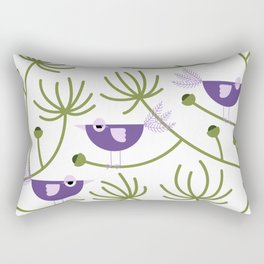 Resting Birdies - Purple Rectangular Pillow