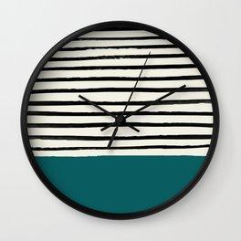 Dark Turquoise & Stripes Wall Clock