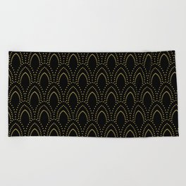 Black And Gold Foil Art-Deco Pattern Beach Towel