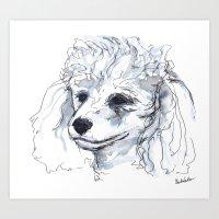 Poodle (portrait for my mom), watercolor Art Print