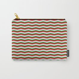 Red White Green and Silver Christmas Wavy Chevron Stripes Carry-All Pouch