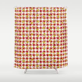 Yellow Daisies on Red Check - more colors Shower Curtain
