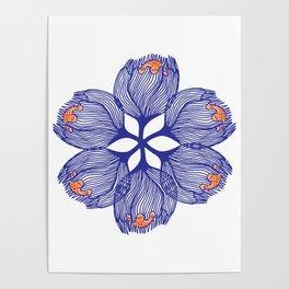 Blue spiral flower Poster