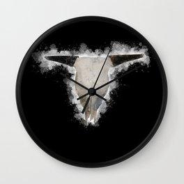 Bull Skull Black Background Wall Clock