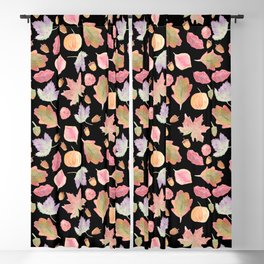 Watercolor Autumn Leaves in black Blackout Curtain