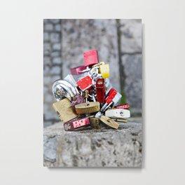 Love Locks on a stone bridge Metal Print