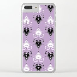 Ornament medallions - Black and white fractals on crocus petals color Clear iPhone Case