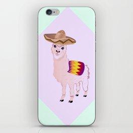 Cartoon Alpaca in Sombrero iPhone Skin