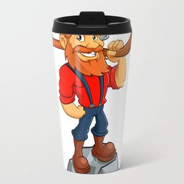 miner funny with pick.Prospector cartoon Travel Mug