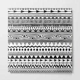 Black & White Boho Style Pattern Metal Print