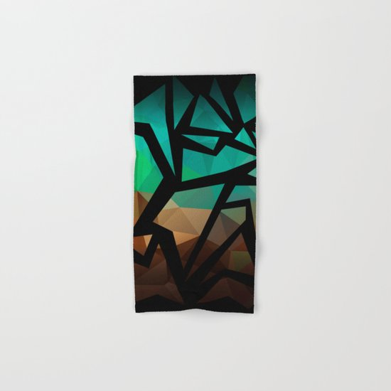 Abstract background of triangles polygon print. Bright dark design colors Hand & Bath Towel