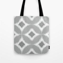 Elegant White Gray Retro Circles Squares Ikat Pattern Tote Bag