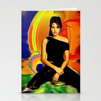 angelina jolie Stationery Cards featuring Angelina Jolie by JT Digital Art