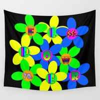 60s Wall Tapestries featuring Flower Power 60s-70s by dedmanshootn