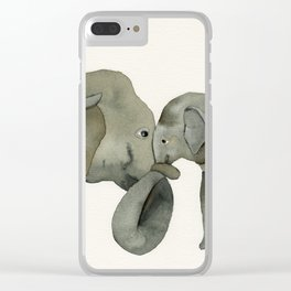 Mom and baby elephant Clear iPhone Case