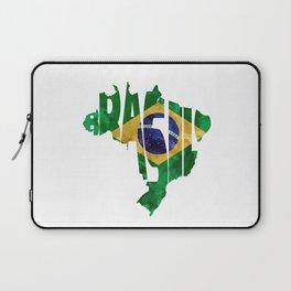 Brasil Typographic World Map / Brasil Typography Flag Map Art Laptop Sleeve