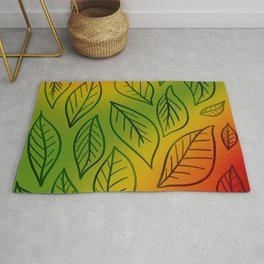 Deep Autumn Gradient With Leaves! Rug