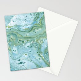 Blue Green fluid marbling texture Stationery Cards