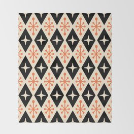 Mid Century Modern Atomic Triangle Pattern 922 Black and Orange Throw Blanket