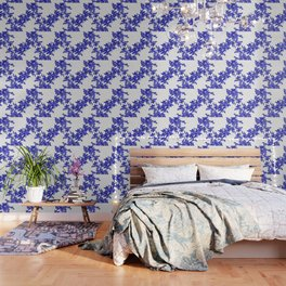 BLUE AND WHITE  TOILE LEAF Wallpaper