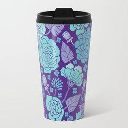 Bright Blue & Purple Floral Print Travel Mug