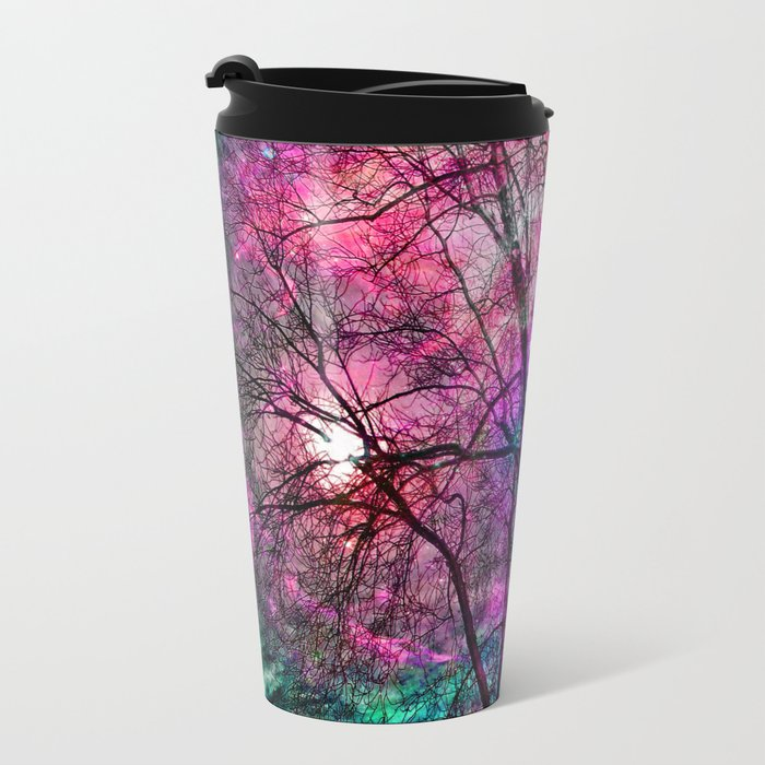 Purple teal forest Metal Travel Mug
