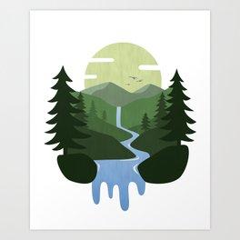 Forest Waterfall Landscape Art Print