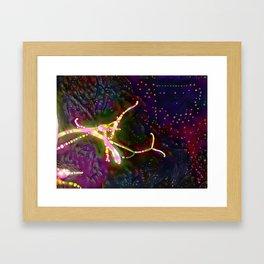 Red flower on dark sky Framed Art Print