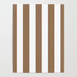 Liver chestnut brown - solid color - white vertical lines pattern Poster