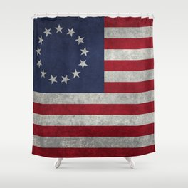 Thirteen point USA grungy flag Shower Curtain