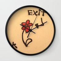 grafitti Wall Clocks featuring Exit Grafitti Flower by Simpson Jane