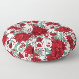 Merry Red Poinsettia Flowers Ivy Leaves Watercolor Floor Pillow