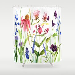 Botanical Colorful Flower Wildflower Watercolor Illustration Shower Curtain