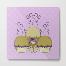Cute Monster With Yellow And Purple Frosted Cupcakes Metal Print