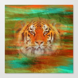 Tiger head on painted texture Canvas Print