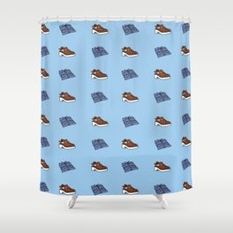 Shirt n Shoe Repeat Print- Blue Shower Curtain