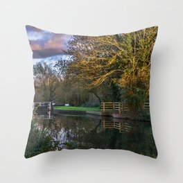 Autumn Reflections On The Kennet Throw Pillow