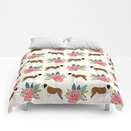 Saint Bernard florals dog breed floral bouquet dog pattern minimal pet friendly Comforters